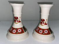 "Charlton Hall Kobe 2 Christmas Candlesticks 5"" Tall Made in Japan"