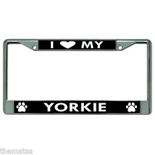 I Heart My Yorkie Dog Paw Print Chrome License Plate Frame Made In Usa