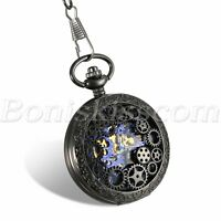 Skeleton Hand-Winding Mechanical Watch Mens Vintage Pocket Watches Sweater Chain