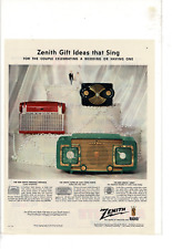 1953 ZENITH PORTABLE CLOCK CREST RADIOS WEDDING GIFTS AD PRINT C981