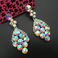Women's AB Crystal Rhinestone Grapes Betsey Johnson Stud Drop Earrings
