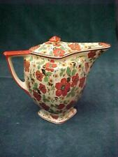 PELICAN BILL PITCHER wth LID RED POPPY CHINTZ CROOKSVILLE IVO-GLO CHINA ART DECO