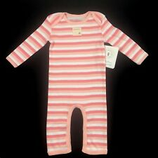 Burt's Bees Baby Girl Cotton Coverall Sz 3-6 Mo Pink White Long Sleeve Striped
