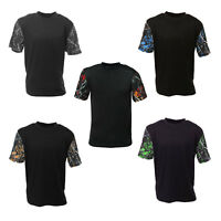 [CLEARANCE] Mens Black T-Shirt w/ Camo Sleeves | Blue Red Green Orange Gray