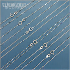 """16"""" Solid Sterling Silver Chain Necklace w/ Spring Ring Clasp [Choose Style]"""