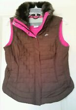 Nike Quilted Vest Espresso Brown with Pink Lining Faux Fur Collar Tailored Fit M