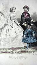 GRAVURE MODE ANCIENNE 19 - JOURNAL DES DEMOISELLES - MARIEE MARS 1861