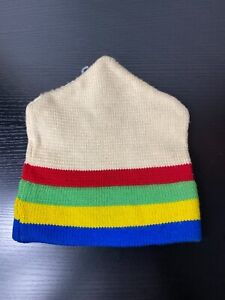 Vintage Beconta Inc. handmade rainbow Vermont Moriarty knit ski wool hat cap