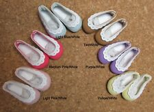"Doll Shoes, 37mm Light Blue/White Scallop Slip ons  for *Bleuette, 12""Shirley T,"