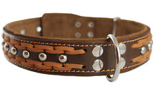 "High Quality Leather Dog Studs Braided Collar 19""-24"" neck 1.5""wide"