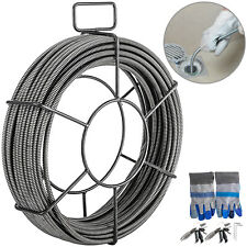 Drain Cable Sewer Cable 50Ft 3/8In Drain Cleaner Cable Auger Snake Pipe