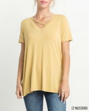 New Solid Mustard Yellow Gold Crisscross Bamboo Loose Tee Fall Top Med Game Day