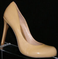 Jessica Simpson Calie beige patent leather round toe slip on pump heel 6.5B