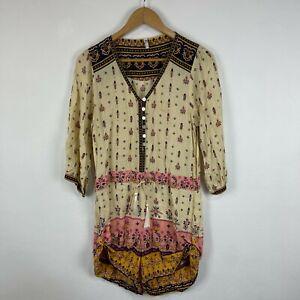 Spell Womens Playsuit Size 10 Multicoloured Long Sleeve Boho Gypsy 103.12