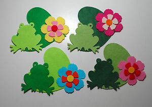 Felt Frogs Lily Pad Trimmings Appliques Scrapbooking Assorted Green Toppers