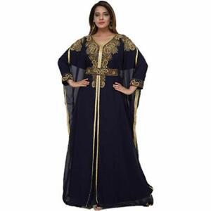 Get Abaya Bridal Arabic Kaftan Farasha Chiffon Hand Zari Work Party Wear Dress
