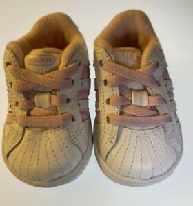 Adidas Originals Infant/Toddler Shoes Size US 2K White with Pink Stripes