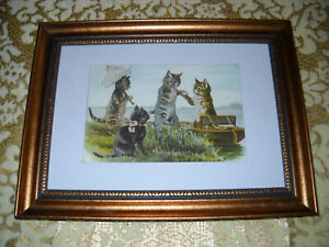 CATS AFTERNOON OUT 5 X 7 golld framed animal picture Victorian style art print