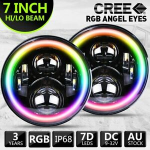 New RGB 7inch LED Headlights Projector Lens High Output DRL Halo Fits GQ PATROL