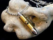 Mens Golden Bullet Pet Cremation Urn Necklace LARGE VIAL Holds Ashes Dog Cat Paw