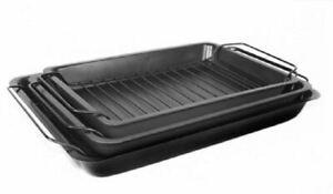 New Set Of 3 Rectangular Non Stick Roasting Baking Pan Dish Tin Tray With Rack