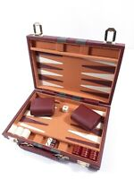 Vintage Backgammon Game with Burgundy Faux-Leather Suitcase - Complete