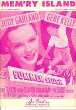 "SUMMER STOCK Sheet Music ""Mem'ry Island"" Judy Garland Gene Kelly"