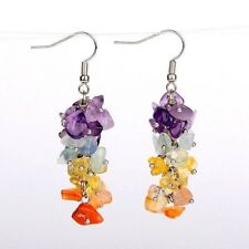 1 Natural Pair of Mixed Gemstones Cluster Dangle Fashion Earrings - # B313
