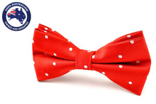 Men's Bowtie Red with White Polka Dots Bow Tie Casual Dotted Bow Ties for Men