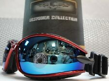 PADDED MOTORCYCLE RIDING GLASSES GOGGLES With Strap Red Frame Blue Mirror Lens