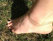 Double Chain, petite 14K Gold-filled Anklet. Perfect for Summer