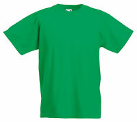 FRUIT OF THE LOOM PLAIN GREEN CHILDS BOYS GIRLS T SHIRT ALL SIZES SS031