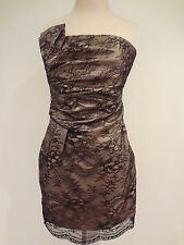 ABS by Allen Schwartz Strapless Lace Bow Dress Black / Nude size 4