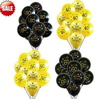 "20pcs 12"" Gold Black 30th 40th 50th 60th Birthday Party Decorations Ballons"