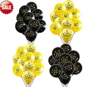 """20 pcs 12"""" Gold Black Number Ballons 30th 40th 50th 60th Birthday Party Decor"""