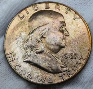 1963 Proof Silver Franklin Half Dollar 50 Cent Beautiful Toned