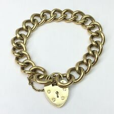 9ct Gold Heavy Charm Bracelet - 10.5 Inches - REF229
