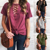 Women Female Short Sleeve Tops Loose Bandage V-Neck Tunic Blouse Shirt Tunic Top