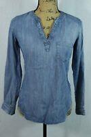 Lou & Grey XXS Washed Chambray Tunic Pullover Blouse Super Soft Denim Shirt