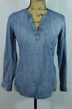 fd7ae2d1 Lou & Grey XXS Washed Chambray Tunic Pullover Blouse Super Soft Denim Shirt