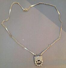 collier vintage couleur argent déco tout de cristaux diamant 4759