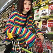 Lady Rainbow Striped Cotton T-shirt Loose Harajuku Top Long Sleeve Punk Fashion