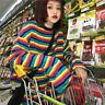 Lady Rainbow Striped Cotton T-shirt Loose Harajuku Top Long Sleeve Punk Fashion