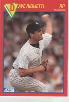 FREE SHIPPING-MINT-1989 Score New York Yankees #37 Dave Righetti SUPERSTAR