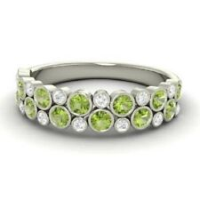 1.00 Ct Real Peridot Wedding Eternity Band 14K White Gold Diamond Ring Size 5