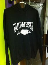 BUDWEISER PROMO NFL SUPERBOWL XLIV FOOTBALL BLACK HOODIE SIZE LARGE RETRO NEW