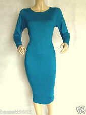 LADIES TEAL (BLUE/GREEN) STRETCH PANEL BODYCON/PENCIL/WIGGLE MIDI DRESS SIZE 16