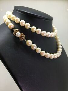 8mm South Sea Pearl Necklace with 14K Yellow Gold Clasp