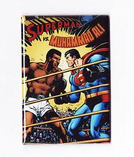 """SUPERMAN VS MUHAMMAD ALI 2"""" x 3"""" POSTER MAGNET (dc comics live logos 1978 print)"""