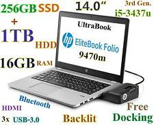"""New listing # Hp Folio 9470m i5-2.9Ghz (256Gb Ssd+ 1Tb Hdd) 16Gb 14"""" Backlit Bt Fp Docking"""